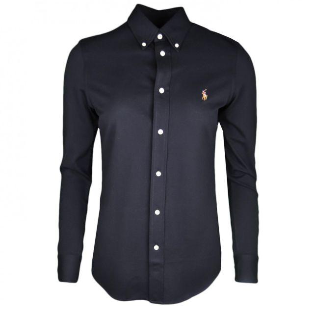 Ralph Lauren - Chemise polo Heidi noire en piqué ajustée pour femme - pas  cher Achat   Vente Chemise femme - RueDuCommerce d2118e0f347