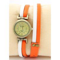 Yilisha - Montre Femme Cuir Blanc Orange 1216