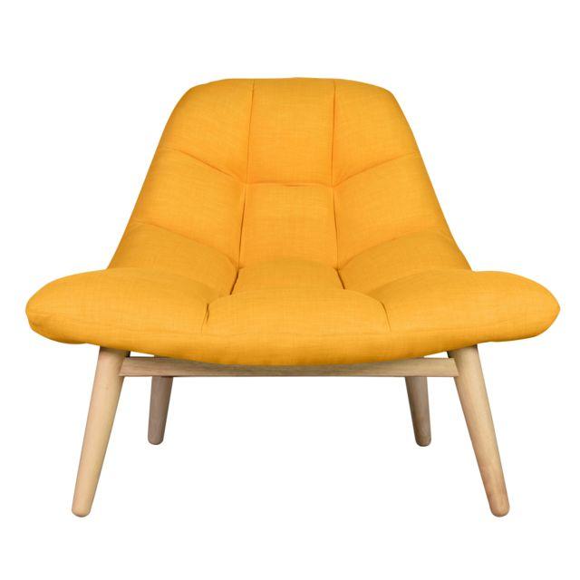 nouveau style f6f58 92248 Rendez Vous Deco - Fauteuil Melby jaune - pas cher Achat ...