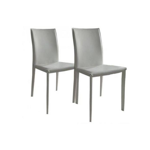 Inside 75 Lot de 2 chaises design Cathy en tissu enduit polyuréthane simili façon cuir blanc cassé