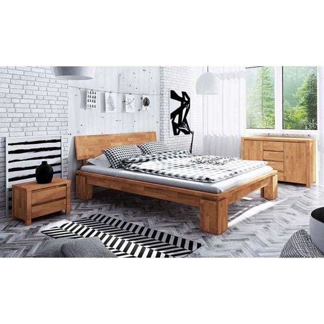 Lit 160 x 200 moderne en bois massif naturel - Vinci haut
