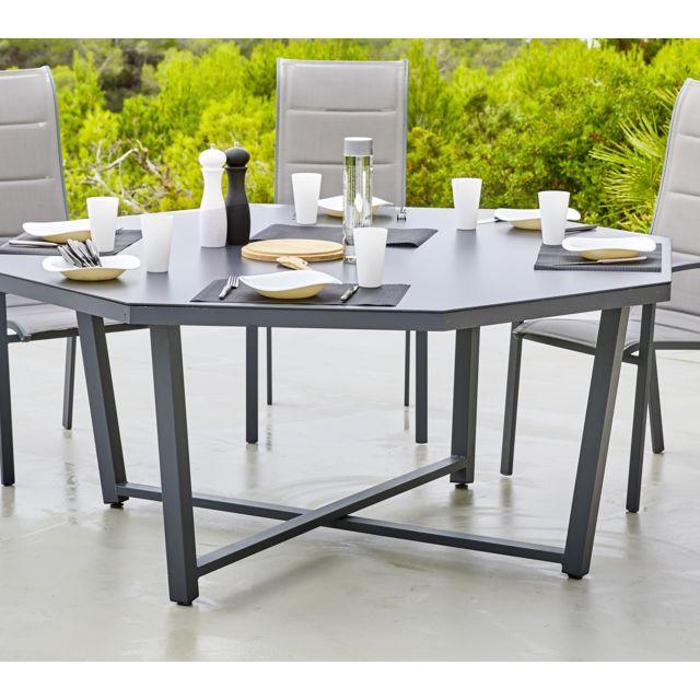 HYBA - Table octogonale Canberra Gris - 166cm x 74cm x 166cm - pas ...