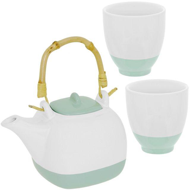 Promobo Set Ensemble Théière Céramique Avec Anse Bambou Et Deux Mugs Vert d'eau