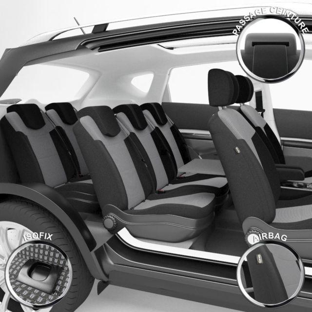 dbs housse de si ge auto voiture sur mesure pour renault scenic 3 02 2009 12 2016 pas. Black Bedroom Furniture Sets. Home Design Ideas