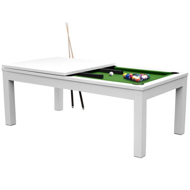 Rendez Vous Deco Table de Billard rectangulaire convertible blanche tapis vert