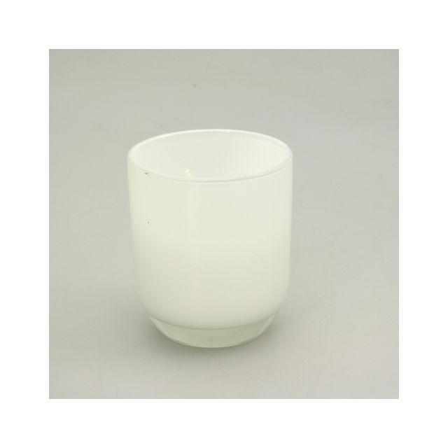 Comptoir Des Bougies Bougie en verre rond opaque - Blanc