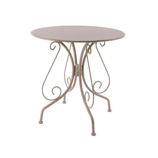 KAEMINGK Table de jardin ronde en métal Ø 70 cmTaupe