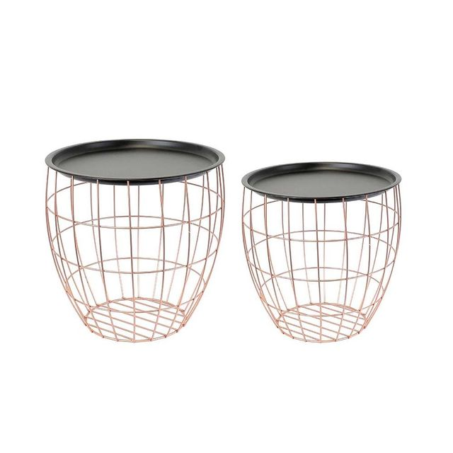 Ego Design Table basse Ball metal cuivre et noir lot de 2