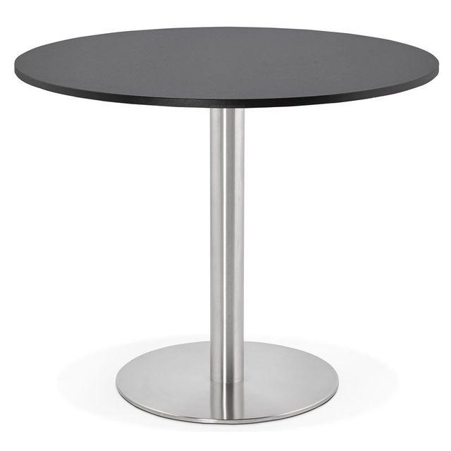 Alterego Petite table de bureau / Ã diner ronde 'DALLAS' noire - Ã? 90 cm