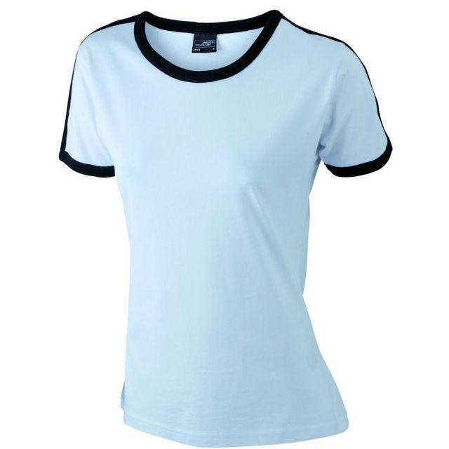 9da7347b6007e James   Nicholson - T-shirt bicolore pour femme Jn018 - blanc et noir