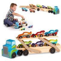 Melissa And Doug - Jouet camion en bois chargeur 6 voitures