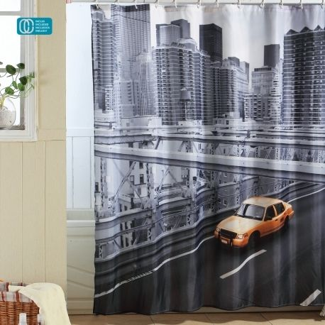 msv rideau de douche polyester 180x200 city new york pas cher achat vente rideaux douche. Black Bedroom Furniture Sets. Home Design Ideas