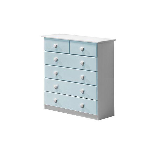 Commode Verona 6 tiroirs coloris blanc et bleu clair