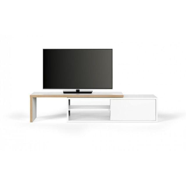 inside 75 meuble tv modulable move blanc mat et bois avec 1 porte coulissante gris pas cher. Black Bedroom Furniture Sets. Home Design Ideas