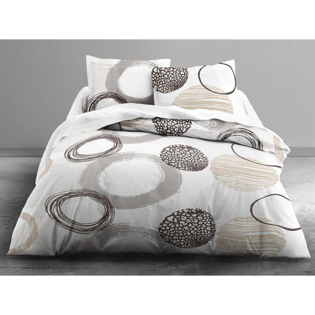 Today parure housse de couette taies 100 coton fermeture zip motif cercle pur gris zen - Housse de couette motif zen ...