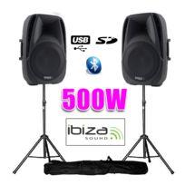 """Ibiza - Enceintes actives 10""""/25CM 500W Usb/SD/BT + pieds"""