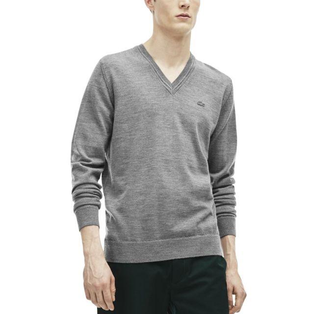 85bb9503f2 Lacoste - Pull jersey de laine col V Gris Chine - 6 - pas cher Achat / Vente  Pull homme - RueDuCommerce