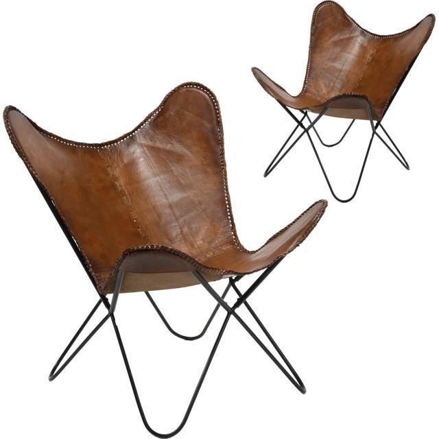 COMFORIUM Lot de 2 fauteuils design Papillon en cuir véritable coloris marron et piètement en acier noir vintage