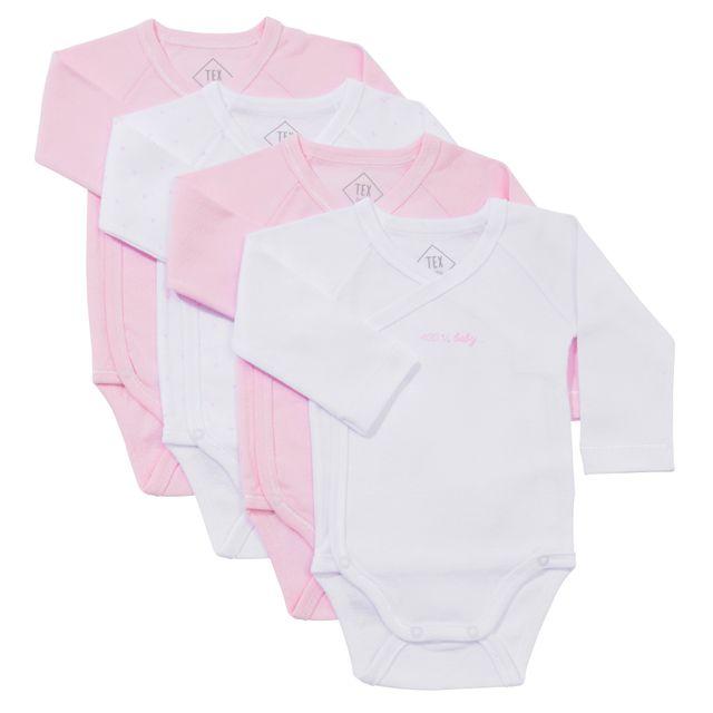 TEX BABY - Lot de 4 bodies naissance bébé en coton manches longues ... f383ee57157