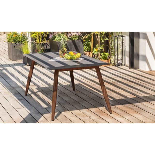 DCB GARDEN Table jardin Scandi marron et plateau béton