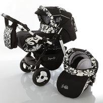 LUX4KIDS - J1 Poussette combinée 3 en 1 Set année avec Siège auto Couffin Poussette canne Chancelière Accessoires 05 ombre noire & fleurs