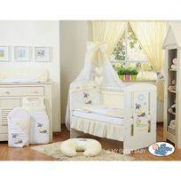 Autre - Lit et parure de lit bébé âne crème jaune ciel de lit mousseline avec top coton 140 70