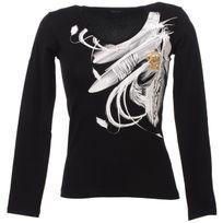 Irmak - Tee shirt manches longues Plumes noir ml Blanc 74017