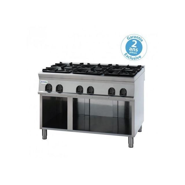 Materiel Chr Pro Piano de cuisson - Top 6 feux vifs gaz sur placard ouvert 40 kW - gamme 900 - Tecnoinox - 900