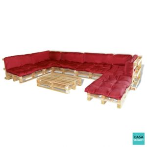 casasmart salon de jardin en palette 13 coussins rouge. Black Bedroom Furniture Sets. Home Design Ideas