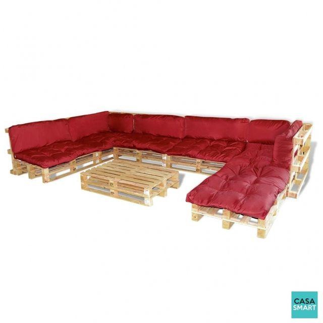 CASASMART - Salon de jardin en palette 13 coussins rouge inclus ...