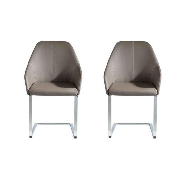 Nouvomeuble Chaise design grise Ouranos lot de 2