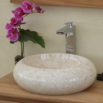 Ocean Line - Vasque salle de bain ronde en marbre Crème 40 cm - Luna