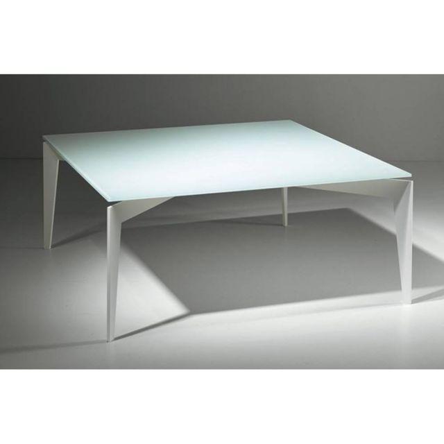 Inside 75 Table basse Tobias en verre blanc