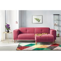 Canape 3 places LUNA avec pouf - ROUGE - 93cm x 77cm x 225cm