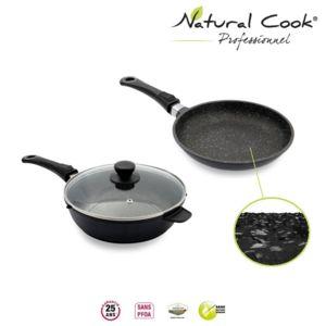 Natural cook professionnel po le et sauteuse 24 cm en pierre granit et c ramique tous feux - Poele de cuisine professionnel ...