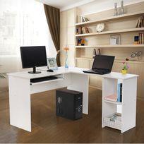Rocambolesk - Superbe Bureau informatique Blanc avec tablette coulissante pour clavier Meuble de bureau pour ordinateur 140 x 120 x 75cm Lcd810W neuf
