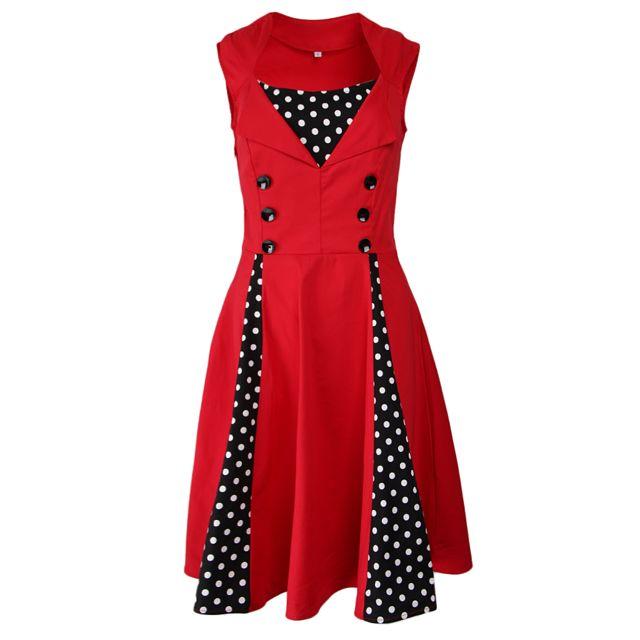 >Femmes polka dots vintage cocktail des années 50 cocktail party robe 2xl rouge