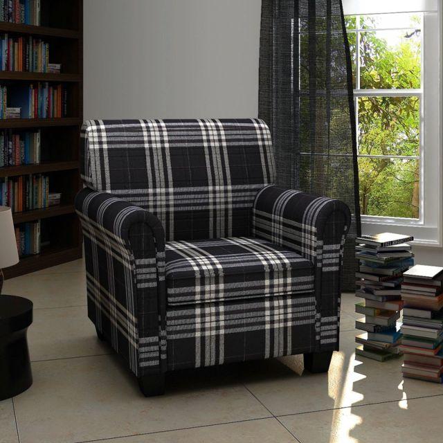 Vidaxl Fauteuil avec coussin Tissu Noir | Noir