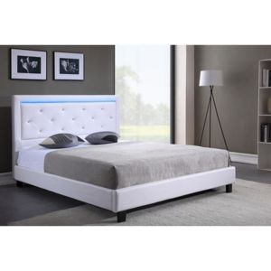mcd filip lit adulte simili et strass led sommier 160x200 cm blanc pas cher achat. Black Bedroom Furniture Sets. Home Design Ideas