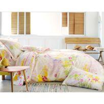 Francois Hans - Parure housse de couette + taies 100% coton fleur aquarelle rose/jaune Giverny