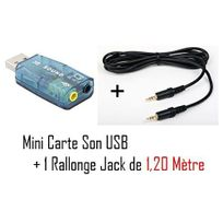 Cabling - Adaptateur Audio Usb 5.1 canaux / Alimenté par port Usb / Interface audio très flexible + Cable Jack male/male 1.2M