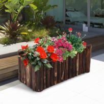 OUTSUNNY - Bac à fleurs jardinière rectangulaire avec fond rondins de bois naturels de sapin 78 x 35 x 30 cm neuf 00