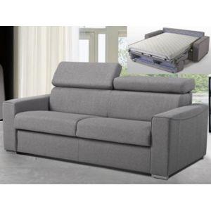 linea sofa canap 3 places convertible express en tissu vizir gris couchage 140 cm. Black Bedroom Furniture Sets. Home Design Ideas
