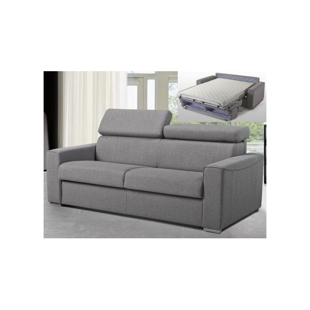 linea sofa canap 3 places convertible express en tissu vizir gris couchage 140 cm. Black Bedroom Furniture Sets. Home Design Ideas