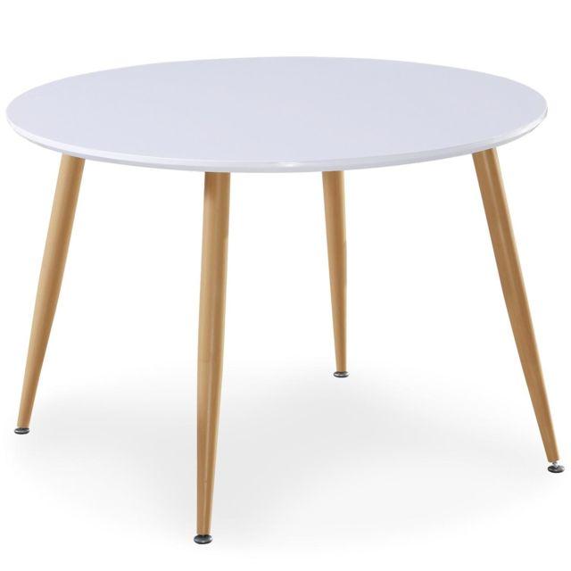 MENZZO Table scandinave Nina Bois laqué Blanc