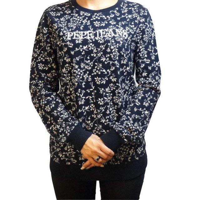 80c3c9561199 Pepe Jeans - Sweat shirt elia femme bleu - pas cher Achat   Vente Sweat  femme - RueDuCommerce