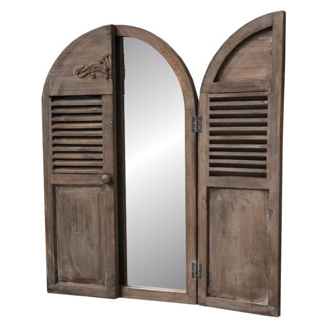 L'ORIGINALE Deco Miroir Fenêtre Volet Prise Mural Bois 89 cm