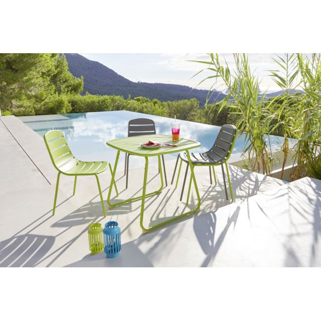 HYBA Table de jardin OPTIMISTIC - Acier - Vert Table de jardin OPTIMISTIC - Acier - Vert - Durée de la garantie : 2 ans