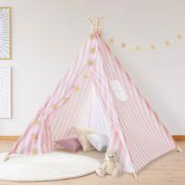 Idmarket - Tipi d'indien rayé rose tente de jeux pour enfant