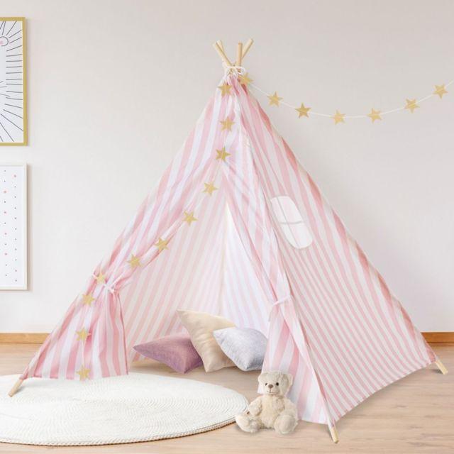 Idmarket - Tipi d\'indien rayé rose tente de jeux pour enfant - pas ...